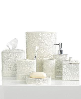 Master Bath Kassatex Accessories Damask Trash Can Bathroom Bed Design Set