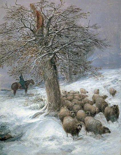 Sheep in the Snow, 1902, by Thomas Sidney Cooper (1803-1902)