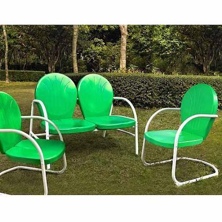 Crosley Furniture Griffith 3-Piece Metal Outdoor Conversation Seating Set - Walmart.com