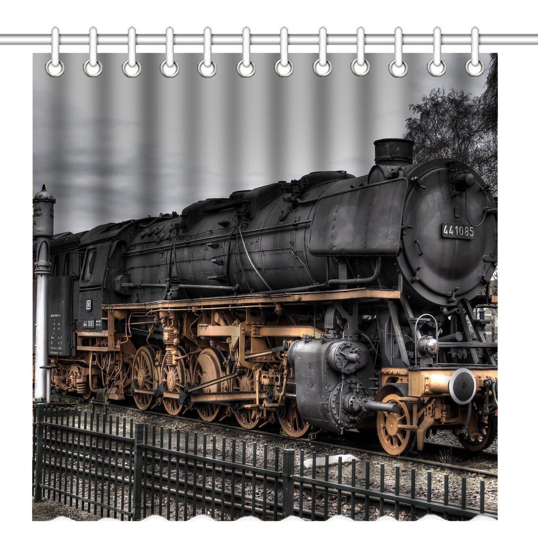Wknoon 72 X 72 Inch Vintage Old Train Shower Curtainwaterproof