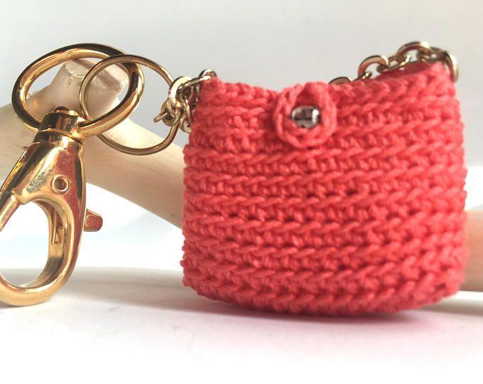 Key Holder Crochet Purse Keychain C Chain Mini Bags