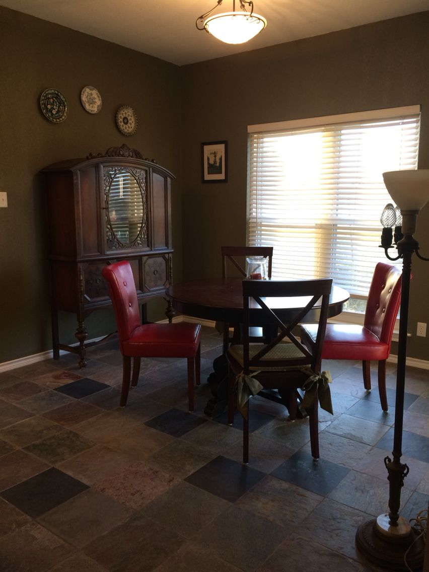 Slate Floor And New Paint For Dining Room Living Room Remodel Room Remodeling Living Room Cabinets #slate #floor #living #room