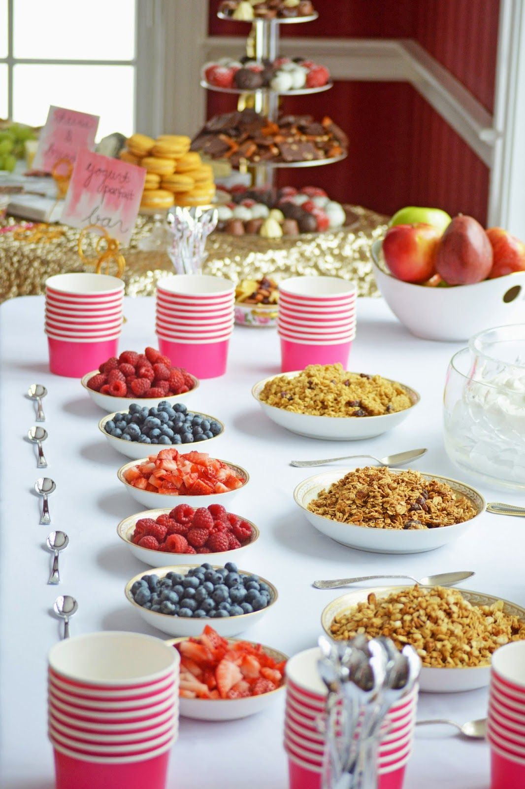 Fruit granola and yogurt parfait bar spring bridal for Table 6 brunch menu