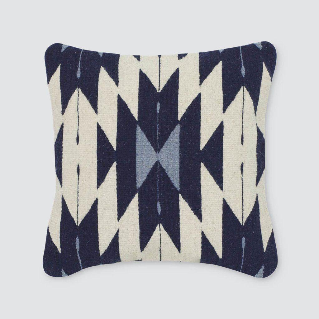 aztec throw pillows in navy amp cream