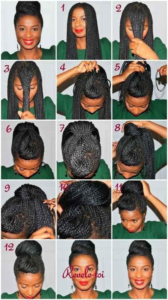 Double Bun Natural Hair Styles Hair Styles Box Braids Styling