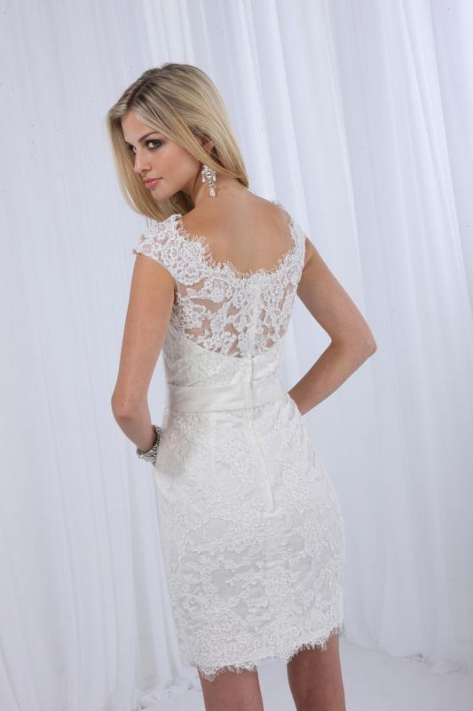 Brand New Short Lace Wedding Reception Dress Ivory Knee Length White 11577b
