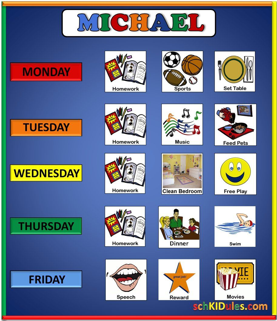 Weekly Calendar Autism : The weekly manager visual schedule is a great way to