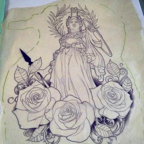 Came across an outline for an Athena tattoo. Thought it ...