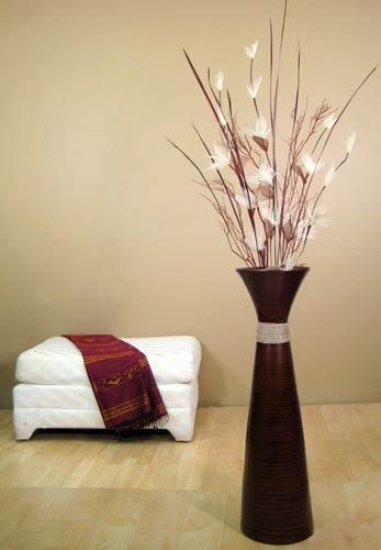 Fluted bamboo floor vase floor vase with flowers for Floor vase with flowers