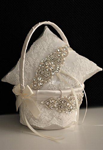 29c20e21f4b0e Amazon.com: Ivory Flower Girl Basket & Jewel Ring Bearer Pillow ...