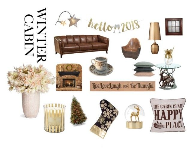 """Cozy Cabin"" by miloni-jhaveri on Polyvore featuring interior, interiors, interior design, home, home decor, interior decorating, National Tree Company, Lene Bjerre, DutchCrafters and A by Amara"