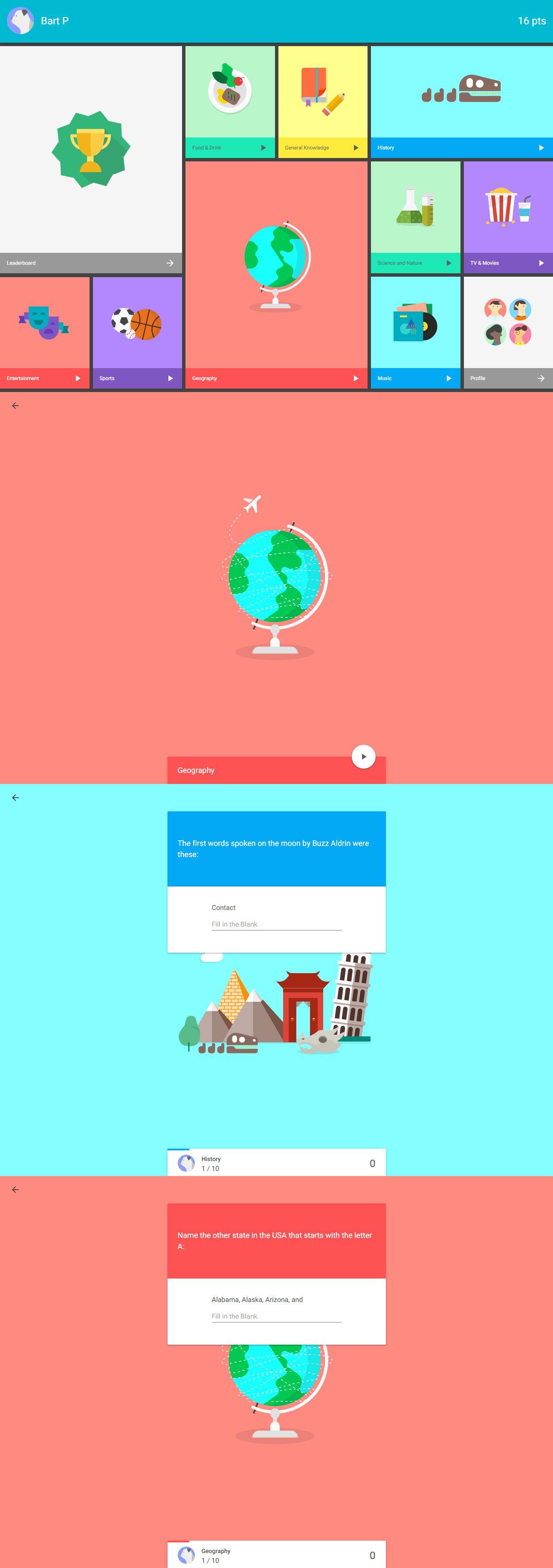 Quiz App made with Material Design Web Design