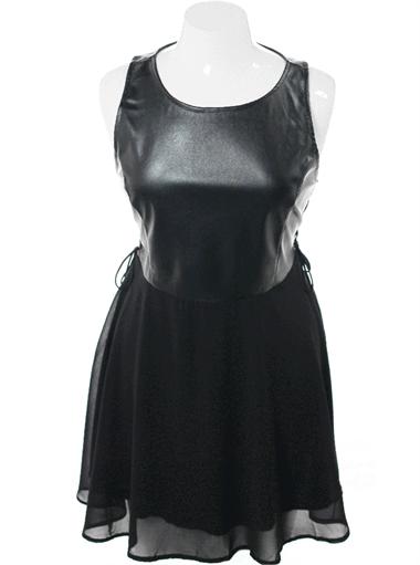 Plus Size Bombshell Faux Leather Skater Dress Plus Size Clothing