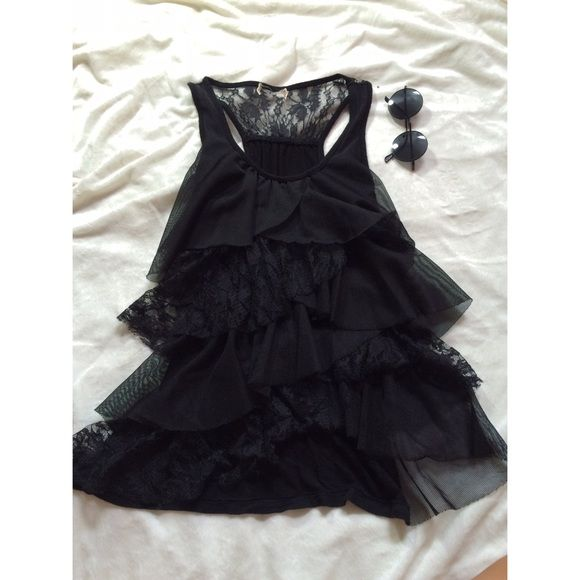 black lace and ruffled top black ruffled tank top with lace backing Tops Tank Tops