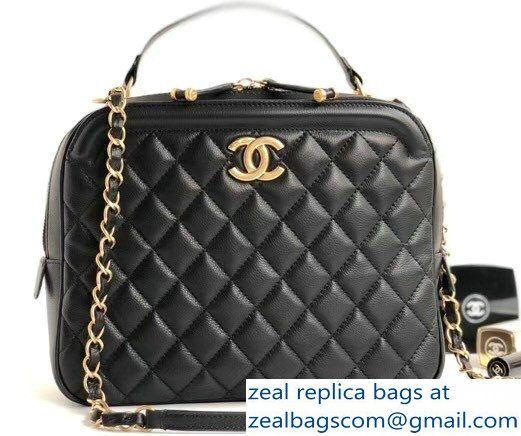 50a842d8a943 Chanel Calfskin CC Vanity Case Medium Bag A57906 Black 2018
