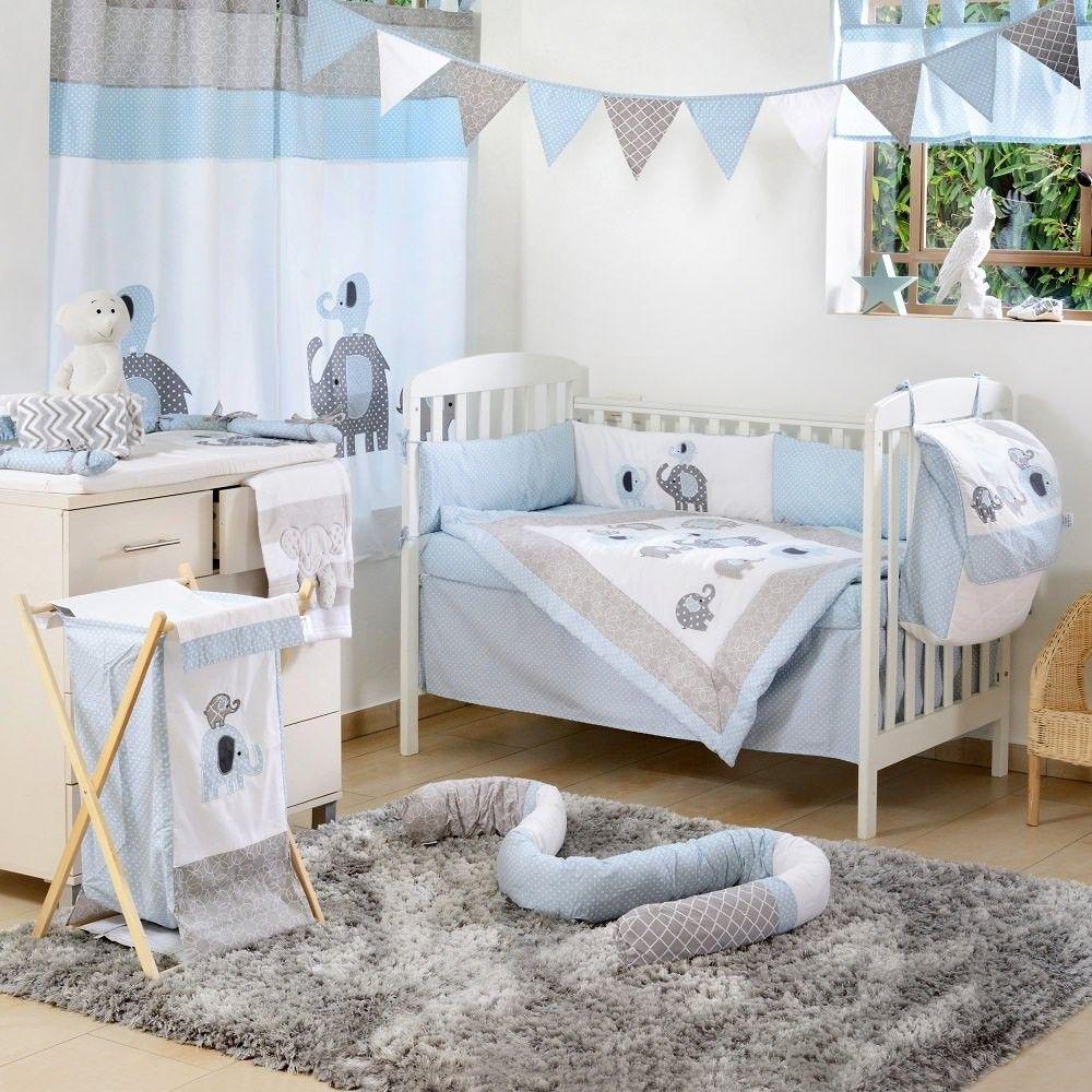 Blue Elephant Crib Collection 4 Pc Crib Bedding Set Baby Boy