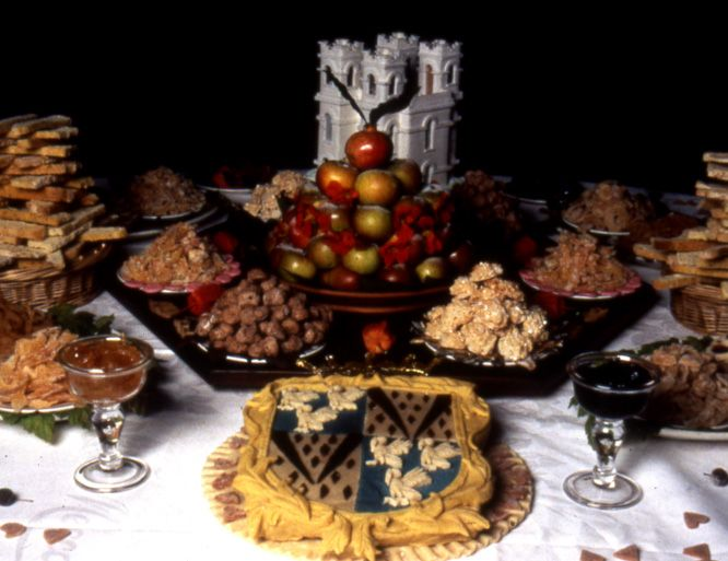 An early eighteenth century style banquet of sweetmeats for 18th century cuisine