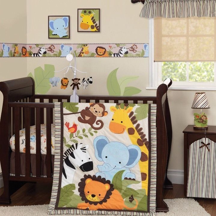 Crib Bedding Set Jungle Zoo Animals Elephant Lion Monkey Giraffe