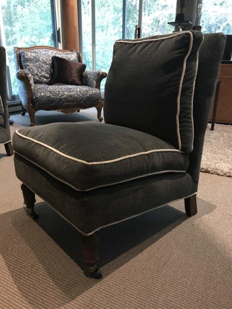 Pair Of Velvet Slipper Chairs | Slipper chairs, Velvet ...
