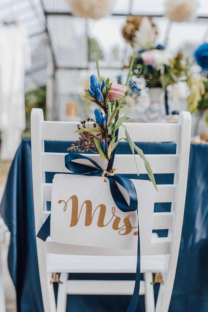Blau goldene hochzeitsdeko blue wedding pinterest - Tischdeko brautpaar ...