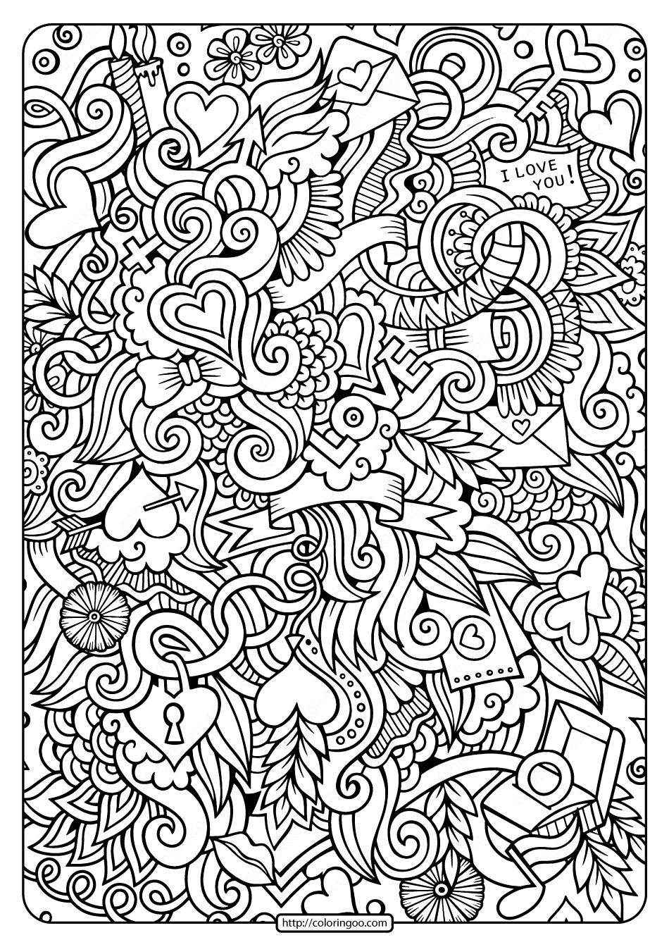 Free Printable Love Doodle Pdf Coloring Page in 2020
