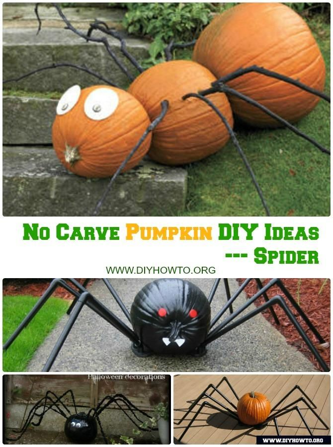 No Carve Halloween Pumpkin Decoration DIY Craft Ideas