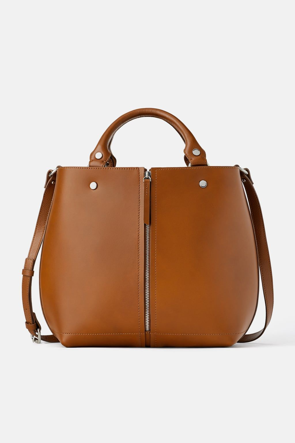 Leather Tote Bag With Zip Detail View All Bags Woman Zara Portugal Leather Tote Bag Tote Bag Leather Leather