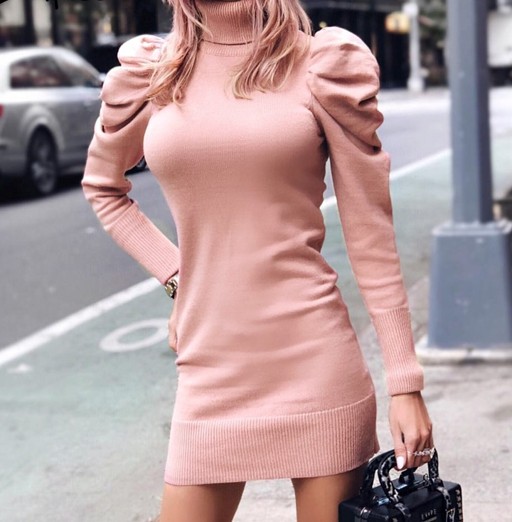 Turtle neck bodycon winter knitted women dress Puff shoulder
