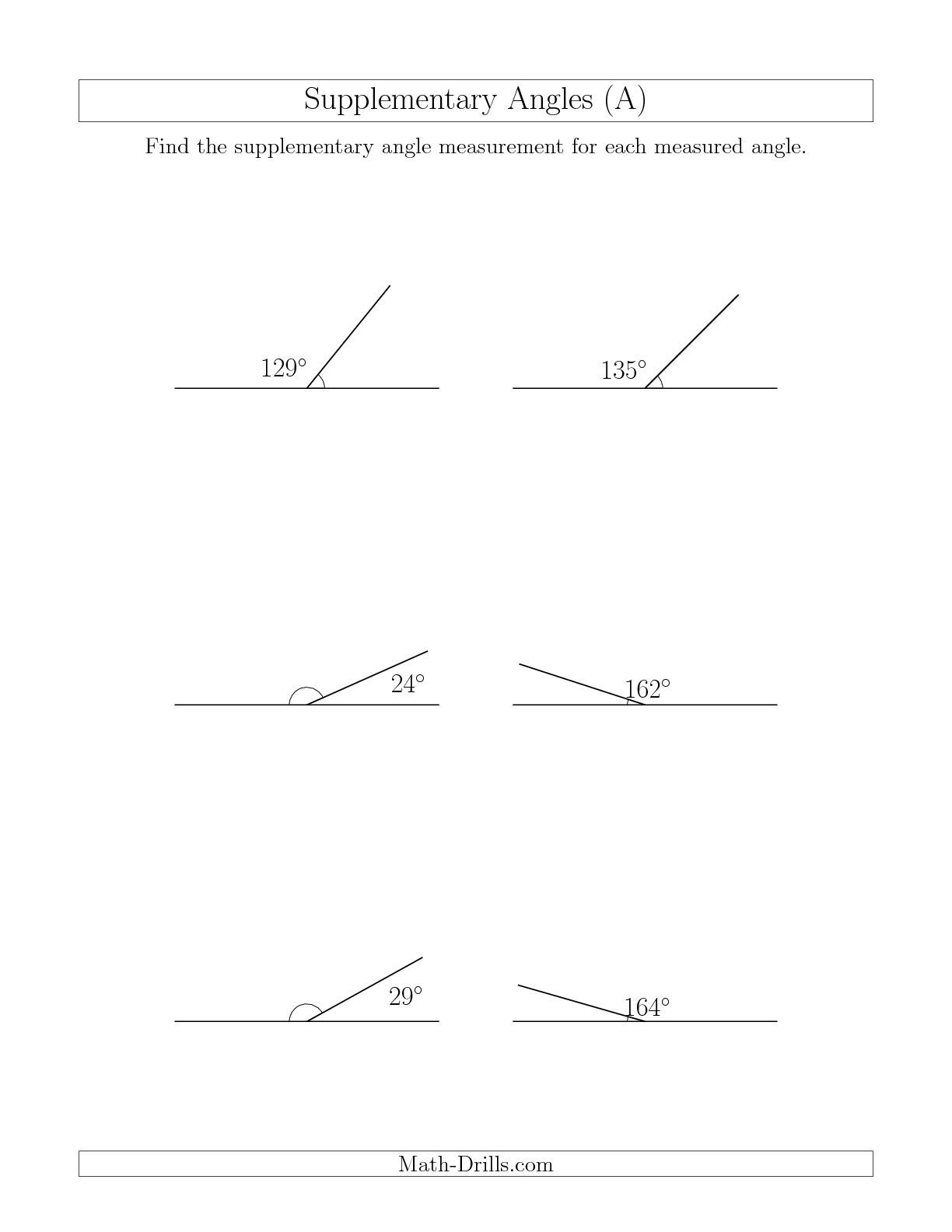 small resolution of The Supplementary Angle Relationships (A) math worksheet from the Geometry  Worksheets page at Math-Dr…   Angles worksheet
