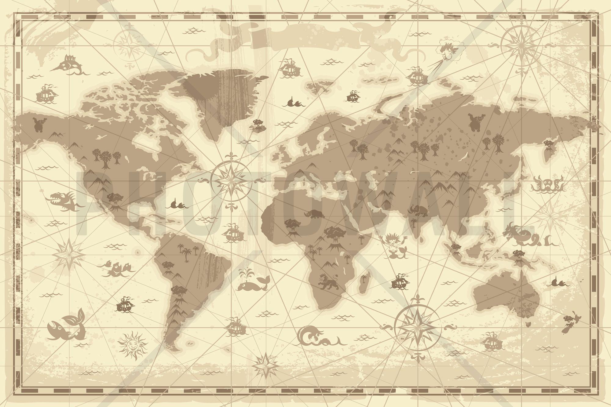 World Map - Styled - Tapetit / tapetti - Photowall