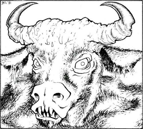 Minotaur (Erol Otus, AD&D module A3: Assault on the Aerie