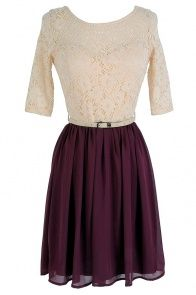 Plum Pretty Belted Lace Dress