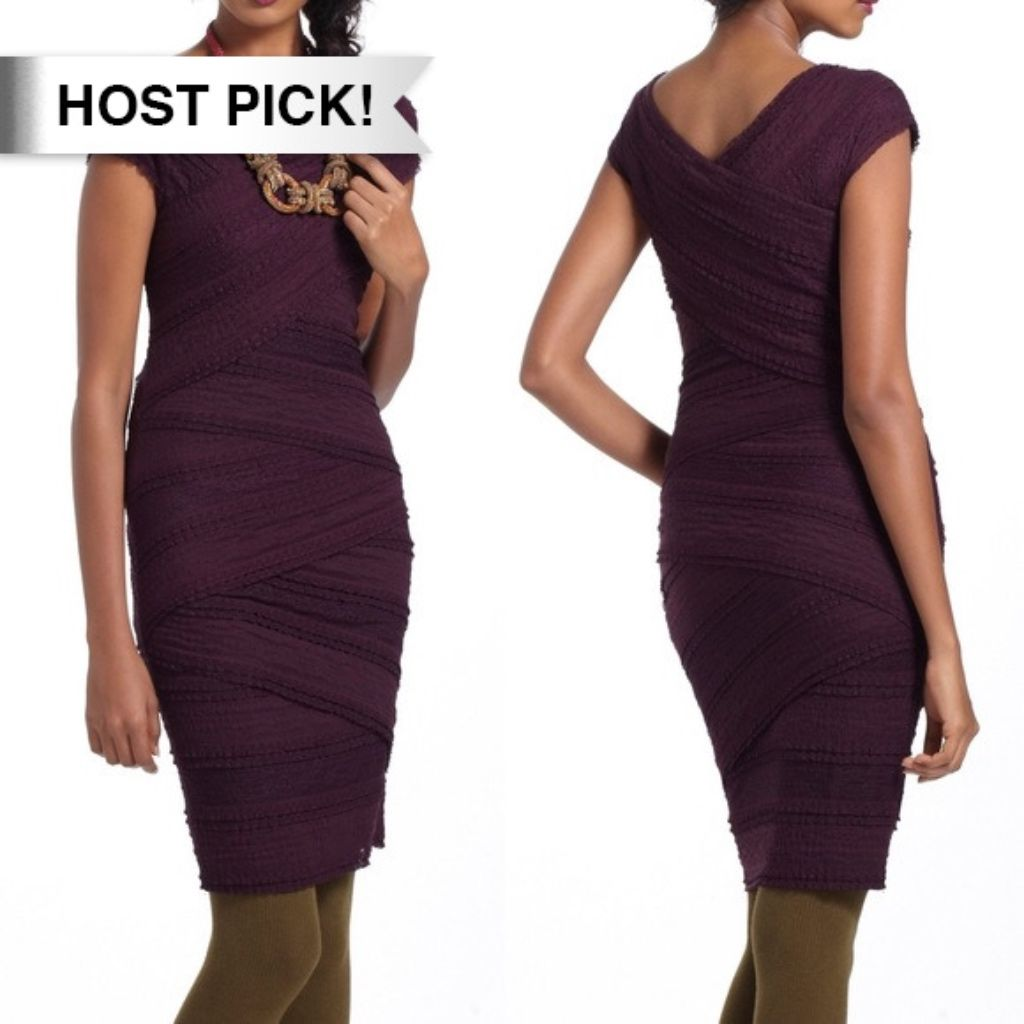 Hp Bailey 44 Purple Lace Tiered Column Dress M Products
