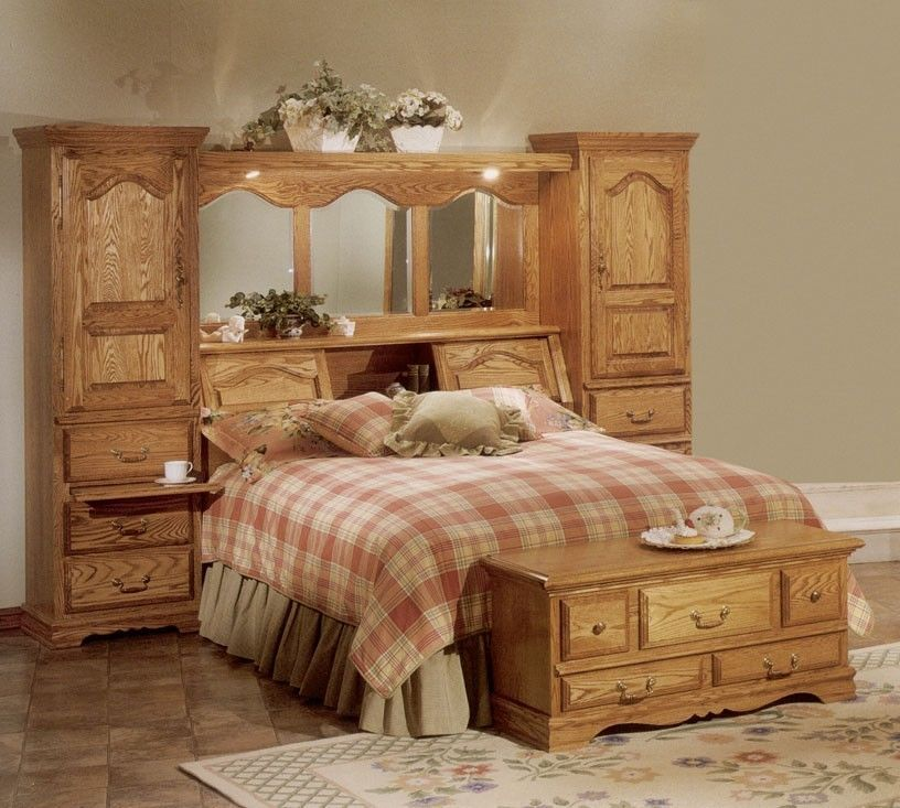 Cedar Lined Red Oak Wood Mirrored Bed Headboard Storage Towers