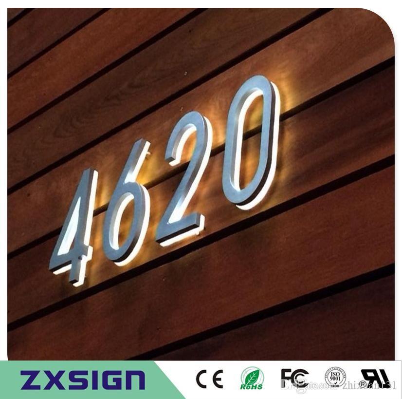 2019 10cm High Back Lit Stainless Steel Led Home Number Sign 4