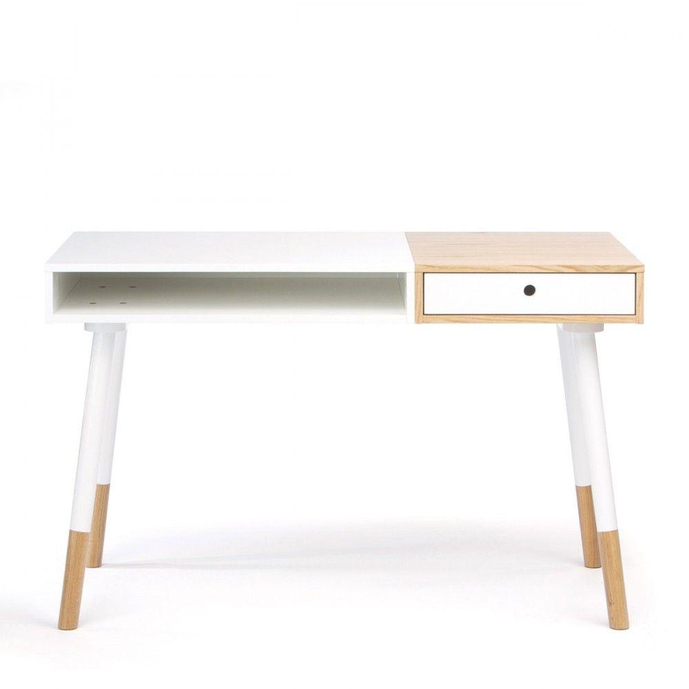 Bureau Design Bois Et Blanc Sonnenblick # Meuble Tv Woodman