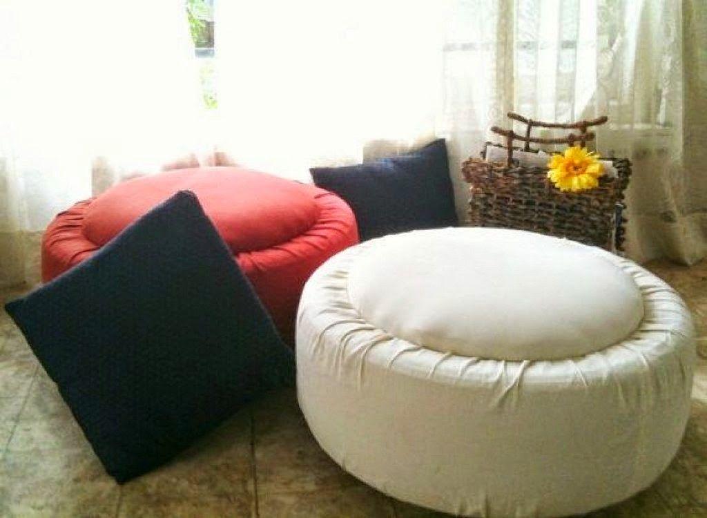 Llantas neum ticos ruedas coche reciclar decorar puff sofa for Sofa columpio exterior