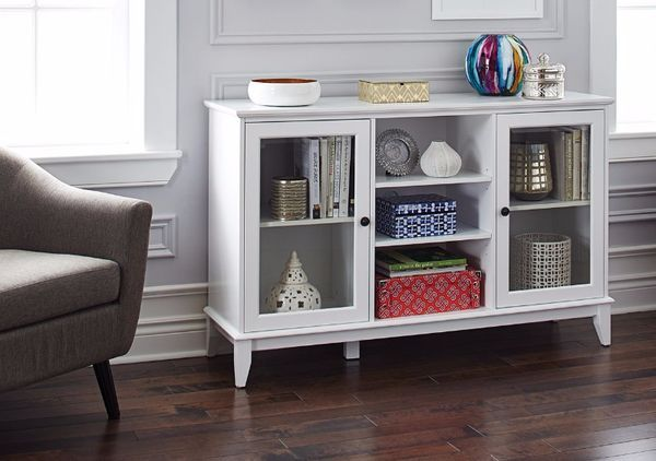 Great CANVAS Evelyn Credenza Features Tempered Glass Doors