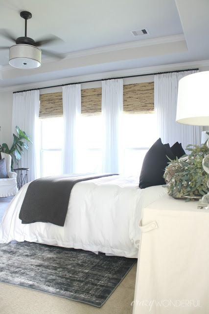 White Drapes And Bamboo Shades White Bedding Overdyed