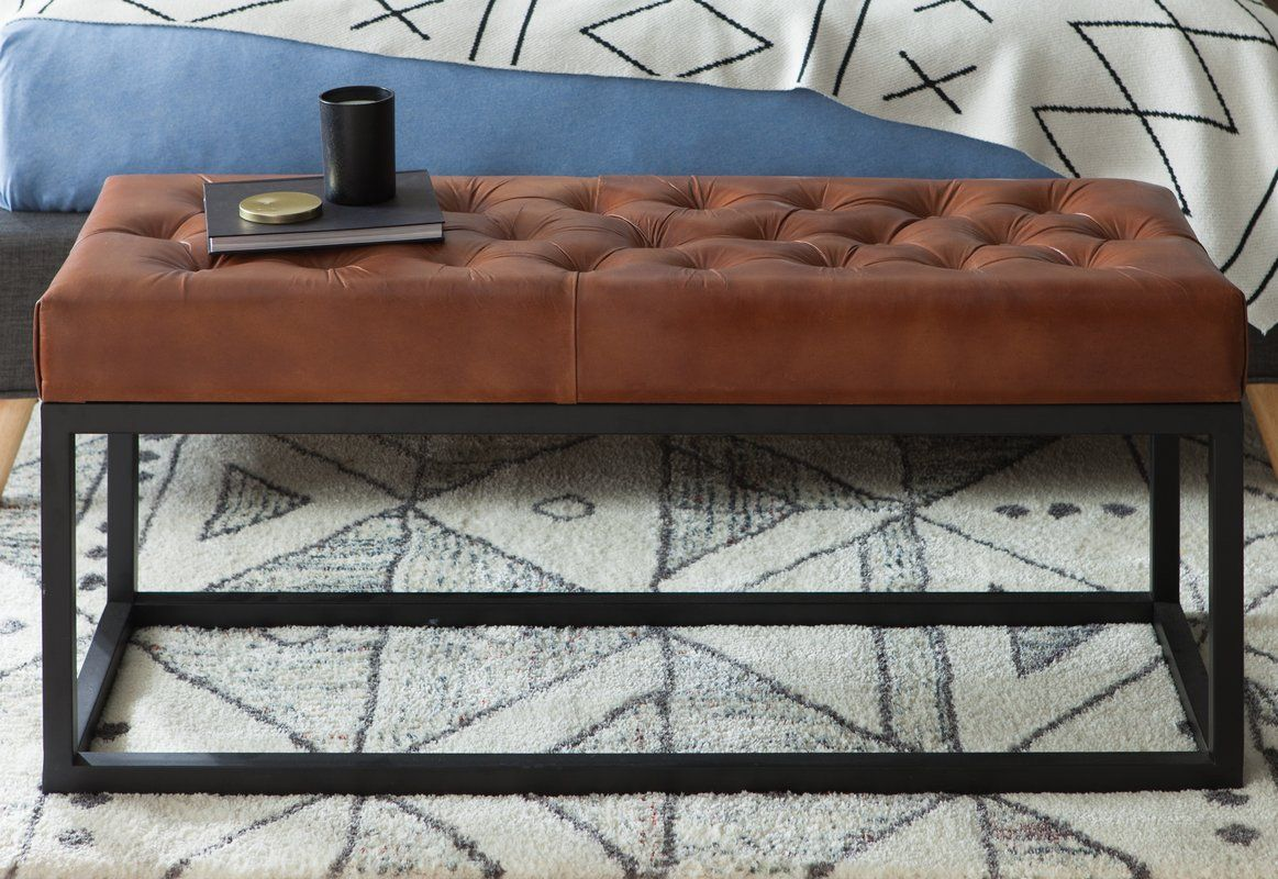 Adelinda Metal And Leather Bench Leather Bench Modern Furniture Living Room Contemporary Bench