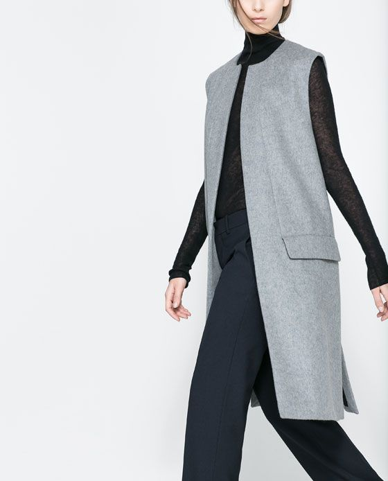 b8fbbbad5a738 Long Vests are in! Studio Long Vest by Zara.