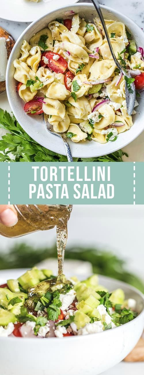 Tortellini Pasta Salad is the perfect side dish With tomatoes onions cucumber