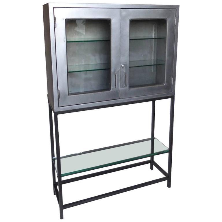 Vintage Metal Dentist Cabinet With Glass Doors And Custom Iron Base Glass Cabinet Doors Vintage Metal Modern Industrial Furniture