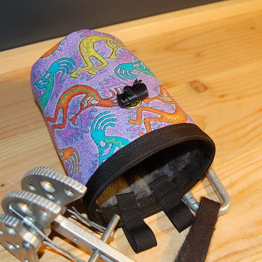 Kokopelli Handcrafted Chalk Bag with Stash Pocket. #ArieLeeflang #etsyclimbersteam #rockclimbing #chalkbag