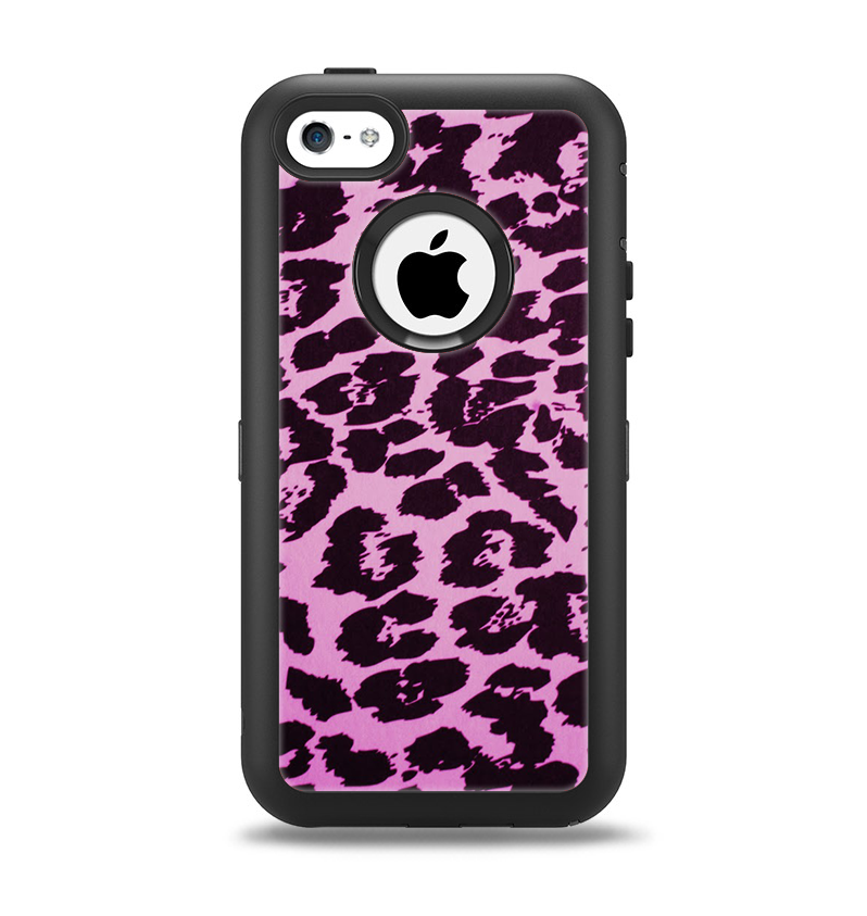 The Hot Pink Vector Leopard Print Apple iPhone 5c Otterbox Defender Case Skin Set