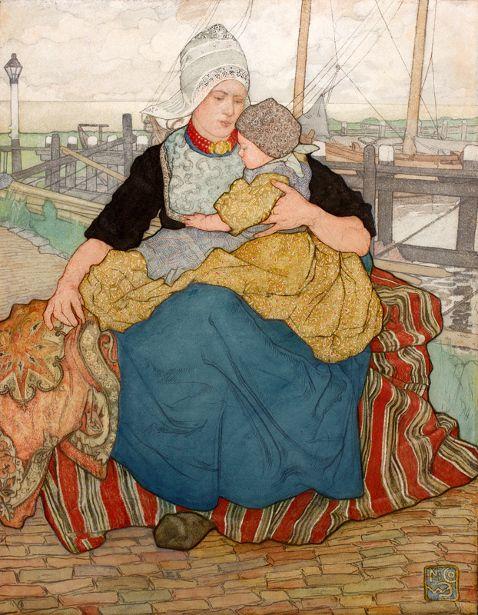 Nico Wilhelm Jungmann (1872 – 1935, Dutch), The Dutch Madonna ~ Holding a Loved One on the Quay