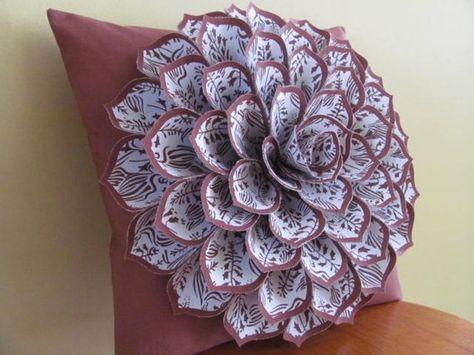 Decorative Pillow Flower Pillow Pattern SOPHIA FLOWER Felt Flower Pillow Pattern with 2 Bonus Pillow