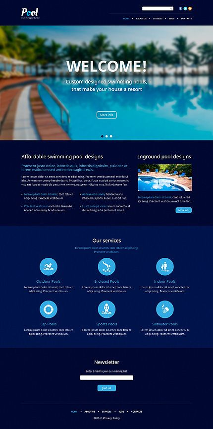 Swimming Pool Services Company WordPress Template Themes Business Responsive