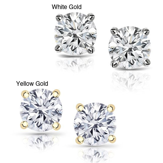 Auriya 14k Gold /2ct TDW Clarity-enhanced Diamond Stud Earrings
