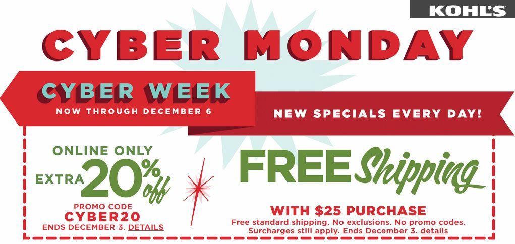 Kohls Coupon Codes 30 Cyber Monday Deals From Kohls Kohls Cyber Monday Cyber Week Cyber Monday